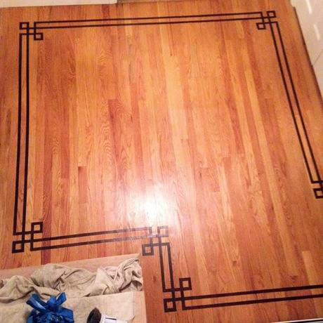 Painted Faux Inlay Floor Border with Printable Template