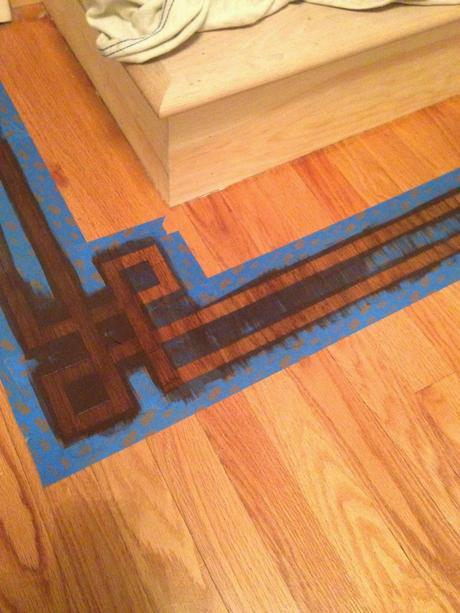 Painted faux inlay floor border with printable template for Printable flooring