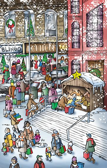 City street scene church on corner people Christmas shopping snow falling store windows decorations man kneeling by creche saying prayer by Mary Joseph Baby Jesus
