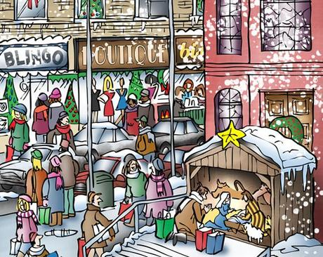 detail image of Christmas cover city street scene church on corner people shopping snow falling store windows decorations man kneeling by creche saying prayer by Mary Joseph Baby Jesus