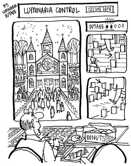 rough sketch of Christmas cover guy eating donuts in front of church luminaria control board which shows two of the candles lining the steps and sidewalks have gone out