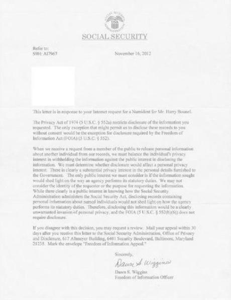 Letter from SS re. Harrison Bounel