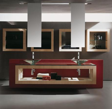 Red Floating Vanity with Glass Vessel Sinks