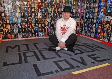 Photo: SM131211-002ow.jpg Brian Lee, from Oakham, who has converted his garage into a shrine to Michael Jackson.