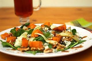 Sweet potato, walnut and blue cheese salad