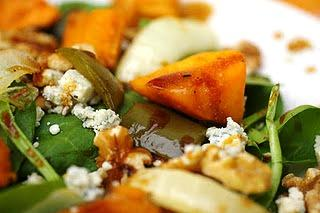 Sweet potato, walnut and blue cheese salad