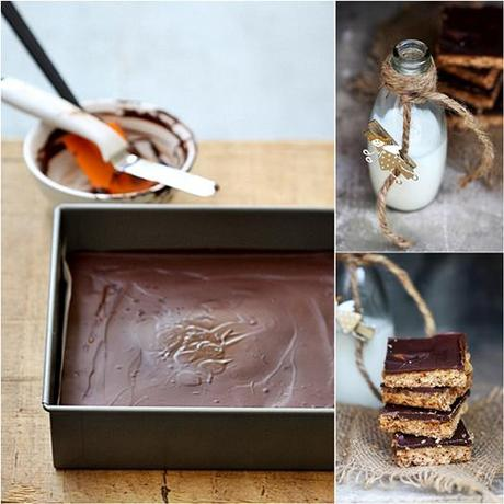 Dark Chocolate Caramel Oat & Almond Shortbread