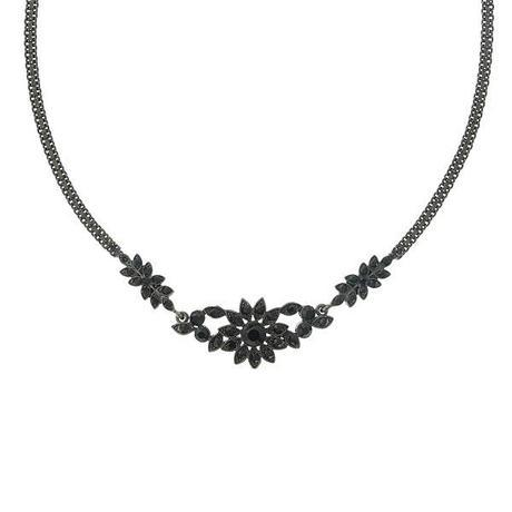 Black Flower Garland Necklace
