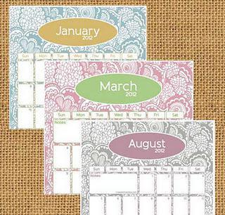 Tuesday Tutorial  ----   Printable 2012 Calendars