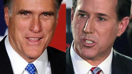 Former Massachusetts Governor Mitt Romney, left, and former Pennsylvania Senator Rick Santorum. Photo: Getty.