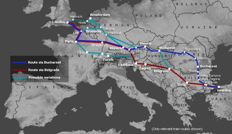 Options of railway route from Istanbul to London