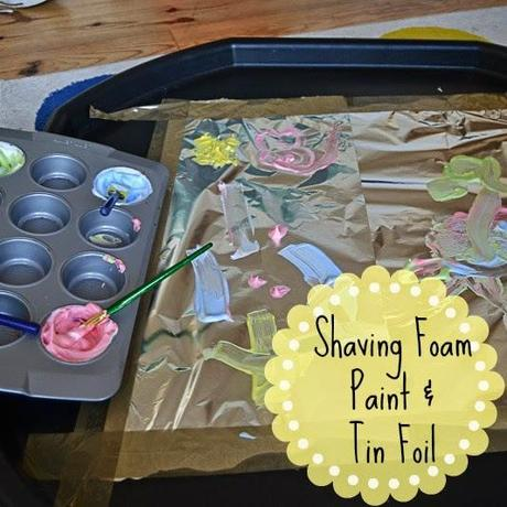 Sensory Play Shaving Foam Paint And Tin Foil Paperblog