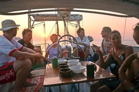 Sundowners in Totem's cockpit with good friends, all spread out in different directions now