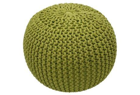 Kelli Knitted Pouf, Grass Green
