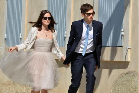 Keira Knightley Jacket Over Short Wedding Dress