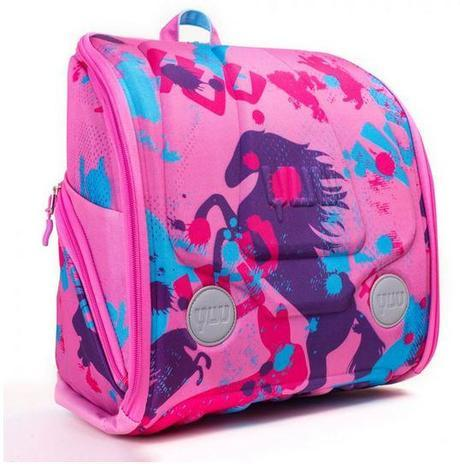 HUUG – Pretty pink exterior with horses, bunnies and cats and bright pink and purple on the inside.