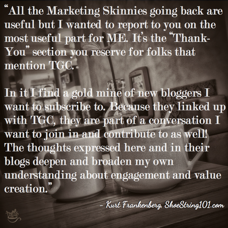 Thank You section in Weekly Marketing Skinnies at Traffic Generation Café