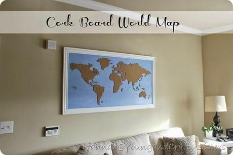 Diy framed cork board world map paperblog cork board world map gumiabroncs Choice Image