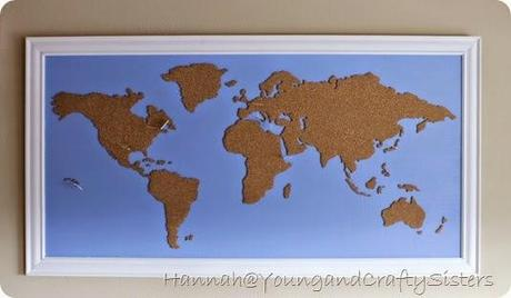 Diy framed cork board world map paperblog cork board world map 10 gumiabroncs Choice Image
