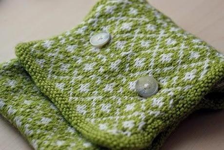 Apple Green Jacquard Button Cowl