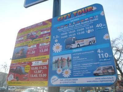 The bus stop for the Vilnius City Tour.