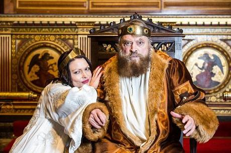 Stalwart: Brian Blessed (pictured) as Lear in the play with daughter Rosalind as Goneril, who watched in horror as her father fainted and fell