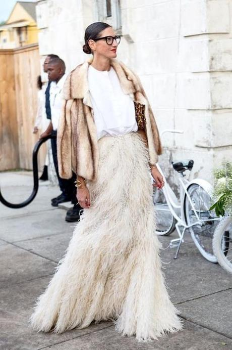fur-Jenna Lyons at Solange Knowles' wedding in a fur coat & feather skirt