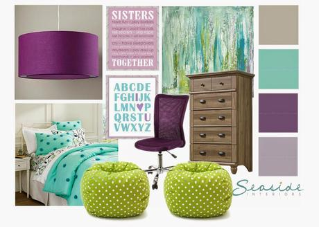 Purple, Gray, and Turquoise Bedroom Makeover for Two Sisters: Part 1