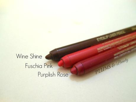 Coloressence Waterproof Lip Liner Pencil Wine Shine, Fuschia Pink, Purplish Rose : Review, Swatches, Price