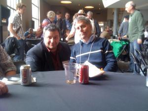 Paul Levitz, one time Editor in Chief of DC Comics, with the author, after discussing his insightful meeting with Arab cartoonists at the 2011 OSU Festival of Comic Arts.