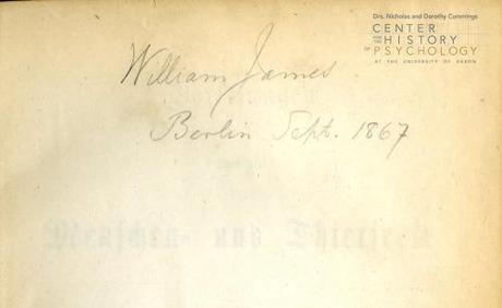 William James' signature with date from first pages of Wundt book
