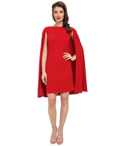 Adrianna Papell - Structured Cape Sheath Dress Women's Dress - Red