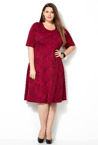 Avenue - Avenue Plus Size Red Swirl Jacquard Dress