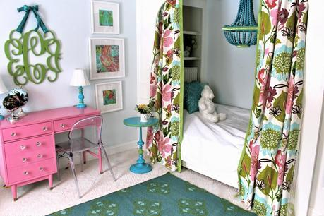 Tween Girls' Bedroom Reveal in Pink, Blue, and Floral With Built in Bed and Painted Desk (And Source List)