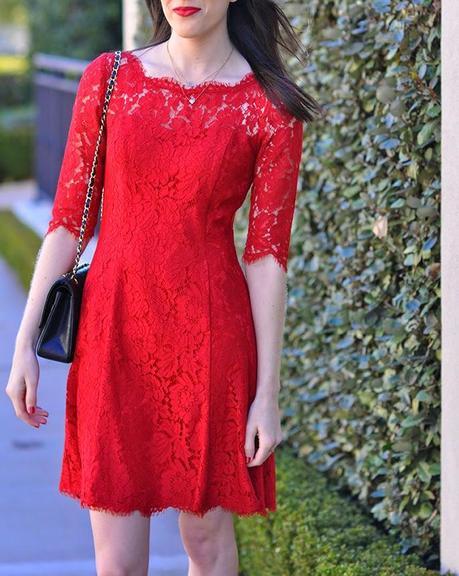 Eliza J lace tulip dress red