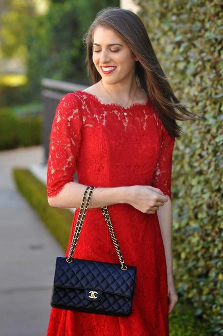 Eliza J lace tulip dress red