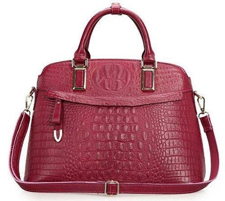 MYBB Genuine Cow Leather 1st Layer Crocodile Embossed Handbag