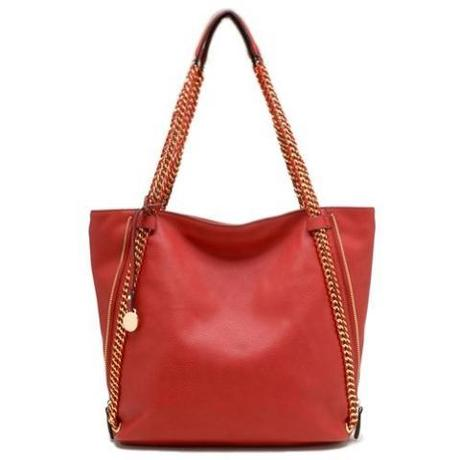 Tosca - Zippered Expandable Tote Handbag (Red)