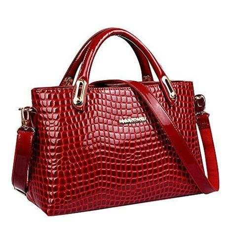 Keral - Womens Classic Crocodile Pattern Handbag PU Leather Shoulder Messenger Bags Red