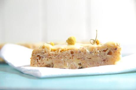White Chocolate Chamomile Chickpea Blondies