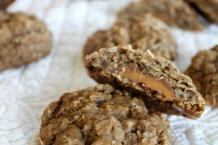 Rolo-Stuffed Chocolate Oatmeal Cookies with Toffee Bits