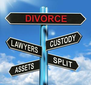 Divorce Signpost Means Custody Split Assets And Lawyers