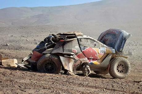 Things are not turning out so well for this race car... and it's a long walk out of the desert