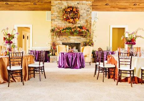 Contrasting fall colors with bright purple