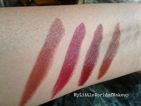 Oriflame's The One - Matte Lipstick Review - Nutty Plum, Molten Mauve,Cherry Brown & Desert Sand!