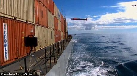 Tomohawk missile punches through a shipping container