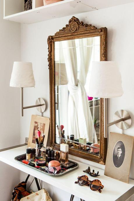 The IKEA Home Tour Squad created a small-space vanity for Chloe Daley of #refinery29 using wall shelves and lamps from IKEA, together with Chloe's antique mirror.