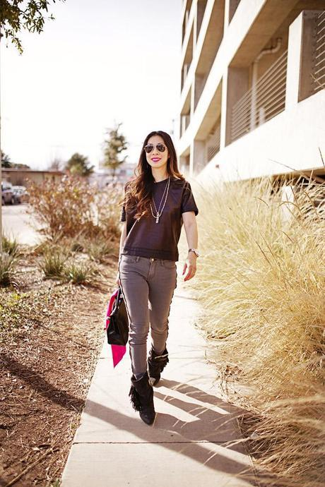 style of sam, how to wear a leather top, frame denim thacher skinny jeans, hermes kelly bag modern outfit