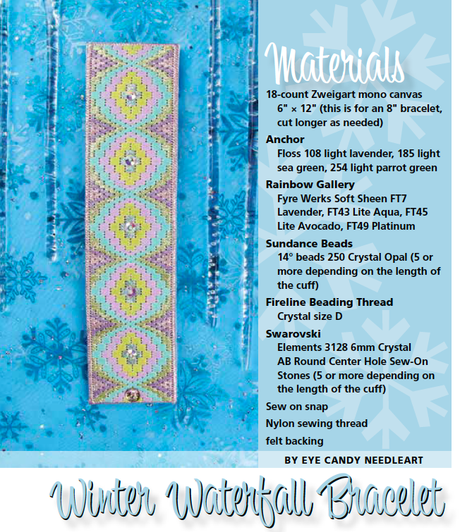 Winter Waterfall Bracelet in the January 2015 Issue of Needlepoint Now