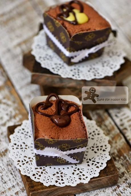 Hokkaido chocolate chiffon cupcakes dark white chocolate custard cream
